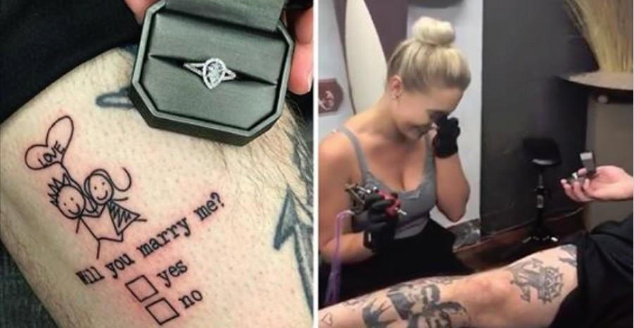 Elképesztő módon kérte meg barátnője kezét ez a tetoválóművész!(VIDEO)