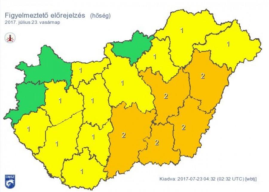 Az OMSZ rengeteg megye riasztási fokát megemelte! Itt kell számítani extrém időjárásra!