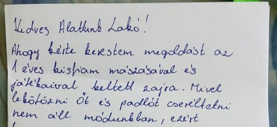 Ma feljött a szomszédom, mert zavarta a 12 hónapos gyermekem mászkálása, levélben válaszoltam neki!